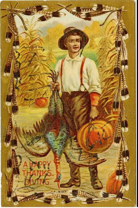 card showing boy with turkey and pumpkin