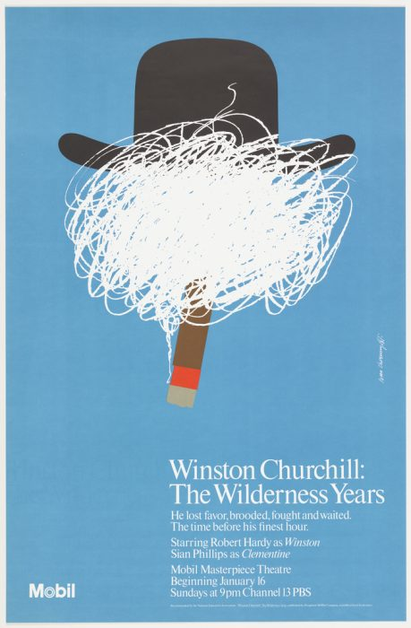 poster with graphic element of white squiggles under hat