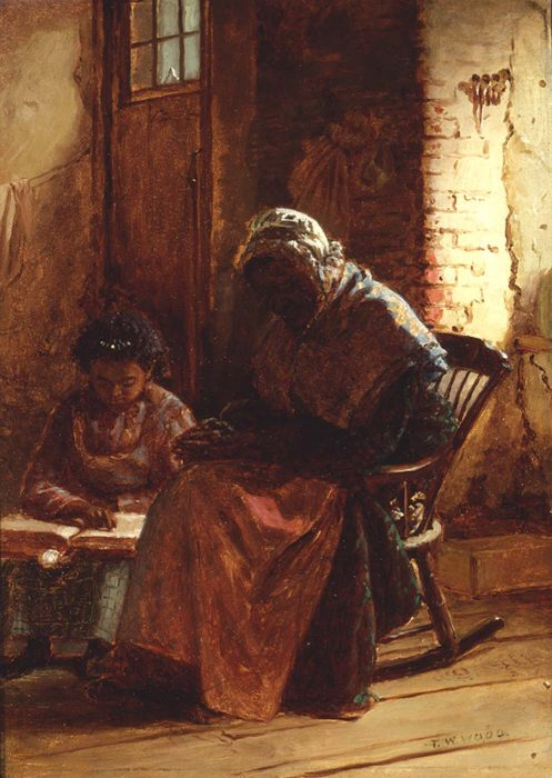 Painting of child reading to elderly woman in rocking chair