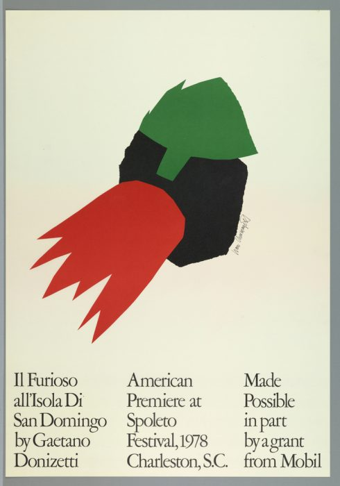 Poster featuring black, green and red graphic elements