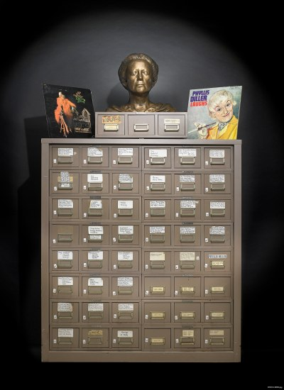 File cabinet with bust of Phyllis Diller