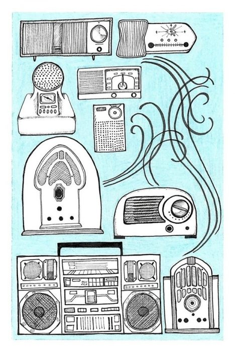 Drawing of various radios