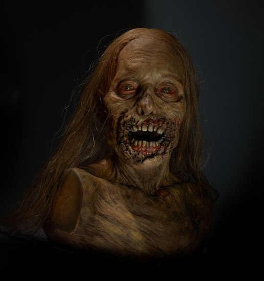 prop bust of zombie