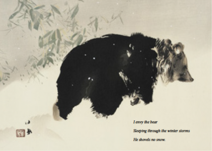 Watercolor of bear in the snow