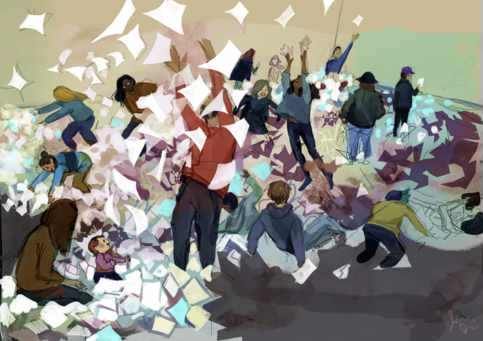 Drawing of people throwing paper into the air