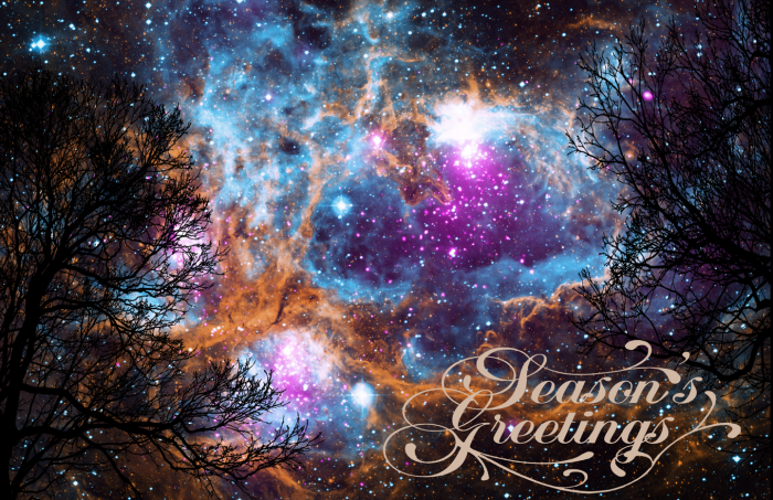 Colorful night sky with Seasons Greetings superimposed