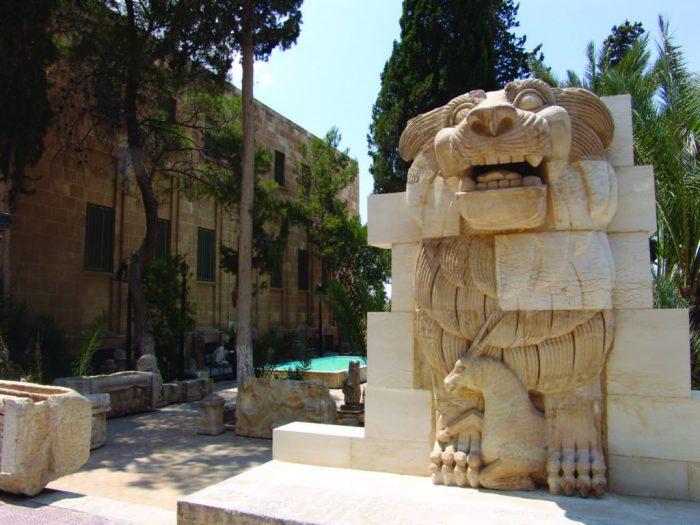 Historic sculpture of lion