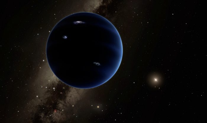 Artist's rendering of dark planet in foreground