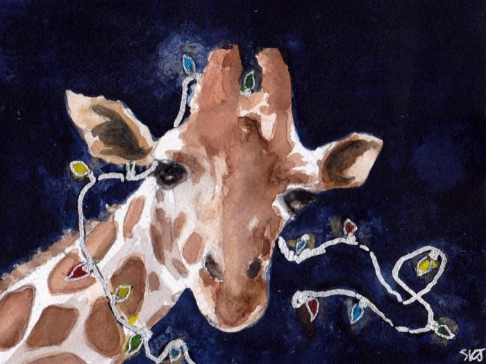 Watercolor of a giraffe adorned with lights