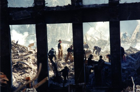 Firefighters in rubble of Ground Zero