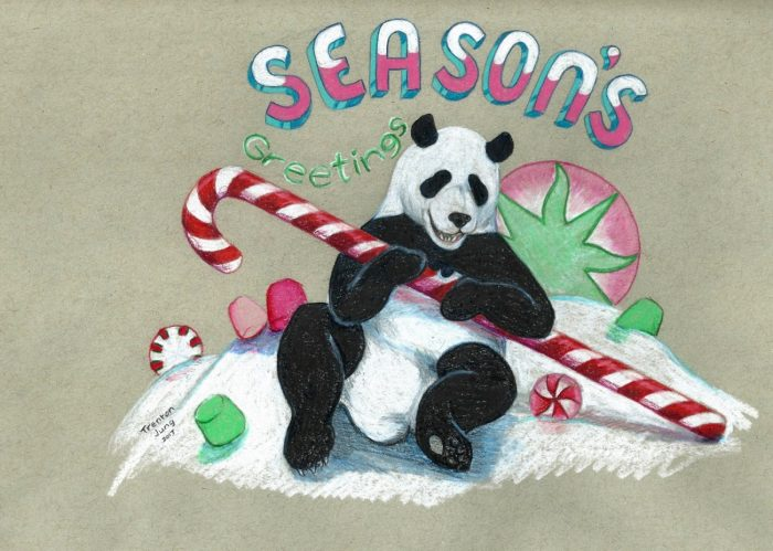 Pencil drawing of panda holding candy cane