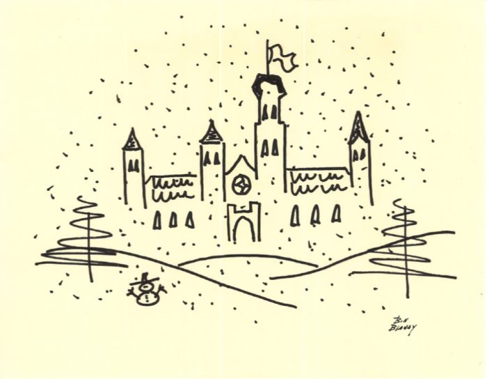 Impressionist drawing of Castle in the snow