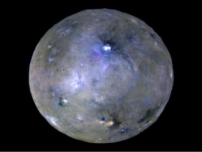 Image of Ceres showing bright spots