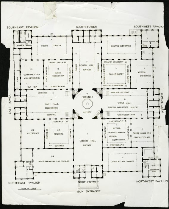 floorplan of Arts and Industries Building