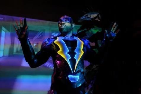 Williams in costume as Black Lightning