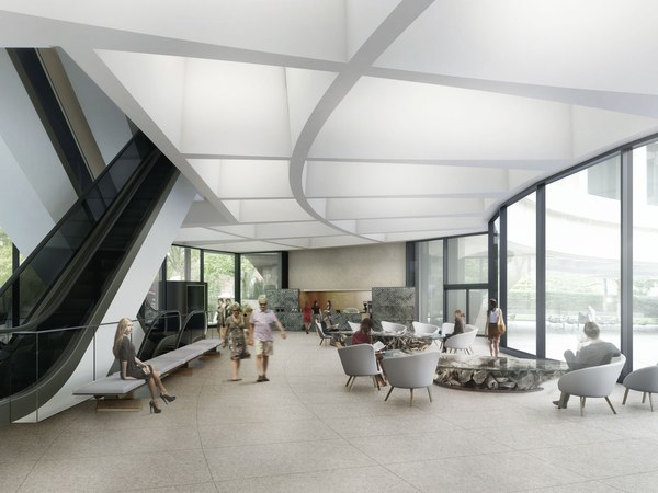 Artists rendering of lobby with seating