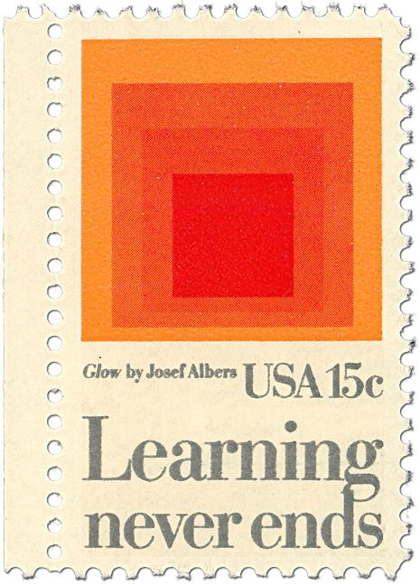 Postage stamp[ with orange painting of squares