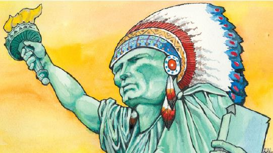 Drawing of Statue of Liberty as an Indian with headdress