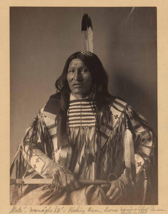 Sepia portrait of Sioux warrior