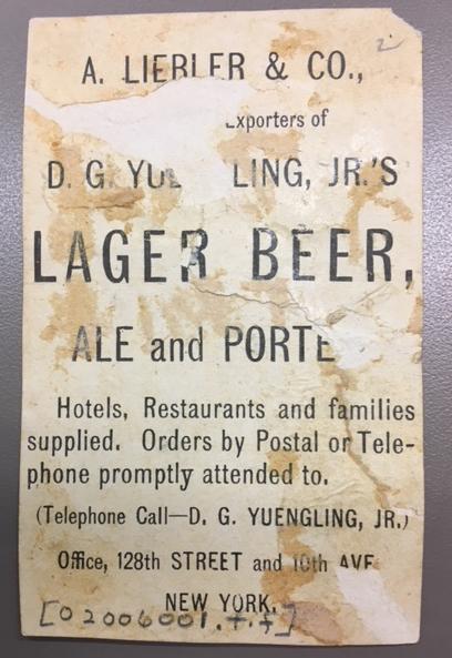 Ad for Liebler & Co beer exporters
