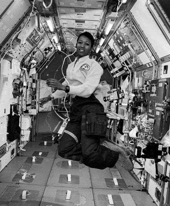 Astronaut Jemison floating in space
