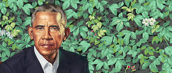 cropped portrait of Obama