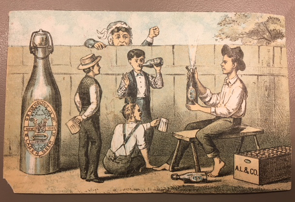 Drawing showing boys drinking beer