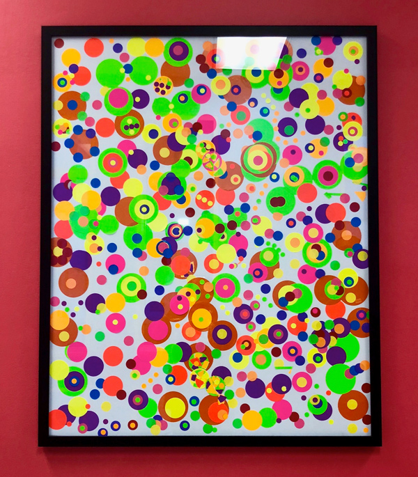 Framed poster of colorful dots