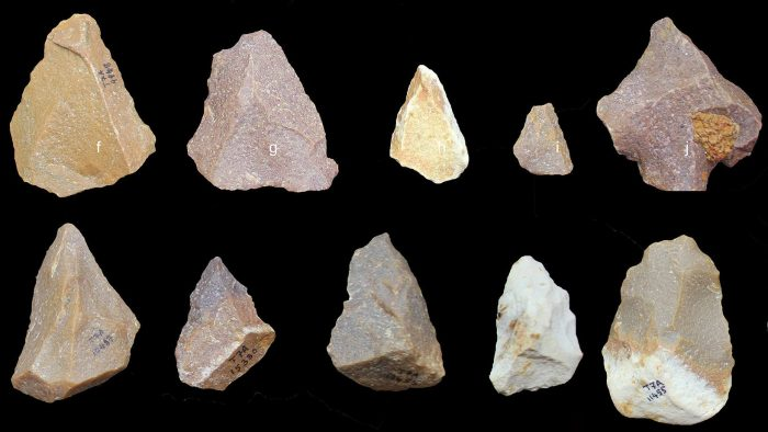 Array of stone tools