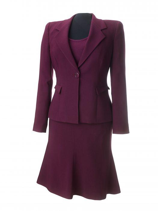 Burgundy skirt suit