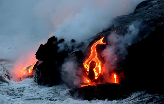 Kilauea lava flows into the Pacific.