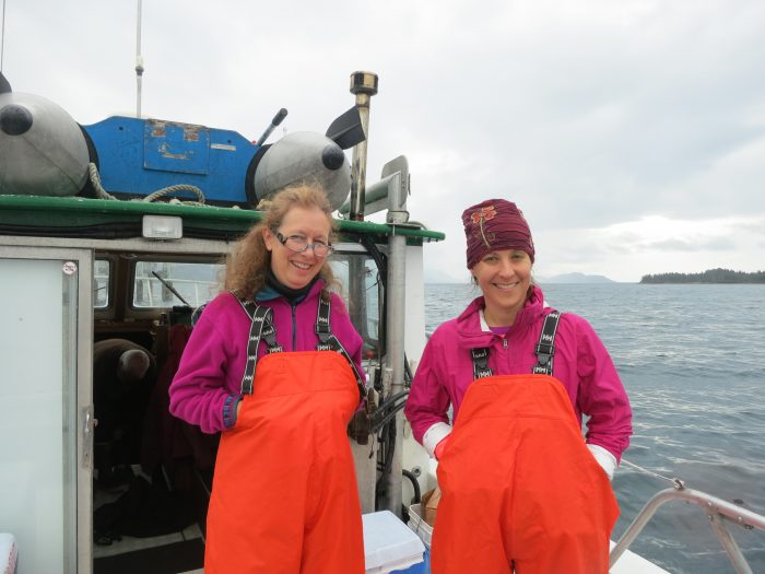 Marine scientists dressed for the elements in Valdez, Alaska.