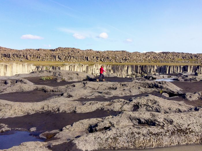 Dr. Jennifer Whitten takes a brief a break from field work to visit Dettifoss in northern Iceland.
