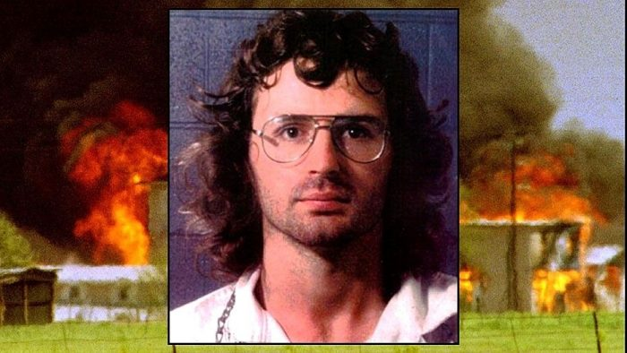 Composite photo of Koresh and burning compound