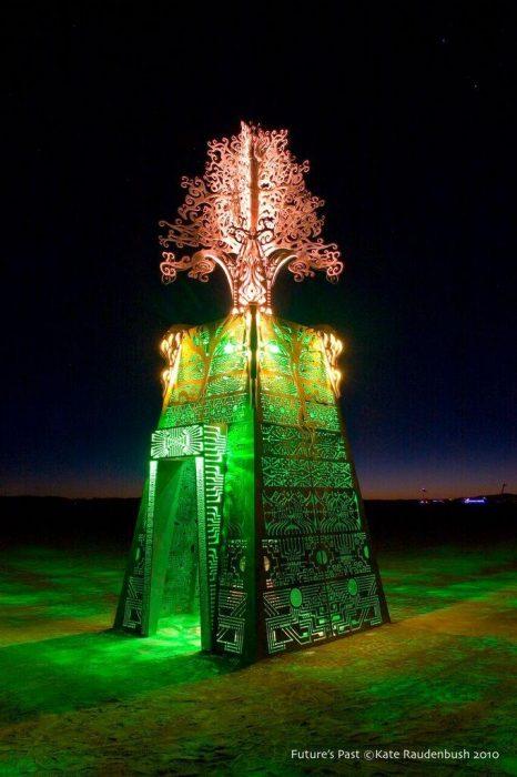 IIluminated sculpture resembling temple