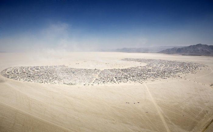 Aerial view of Burning Man Playa