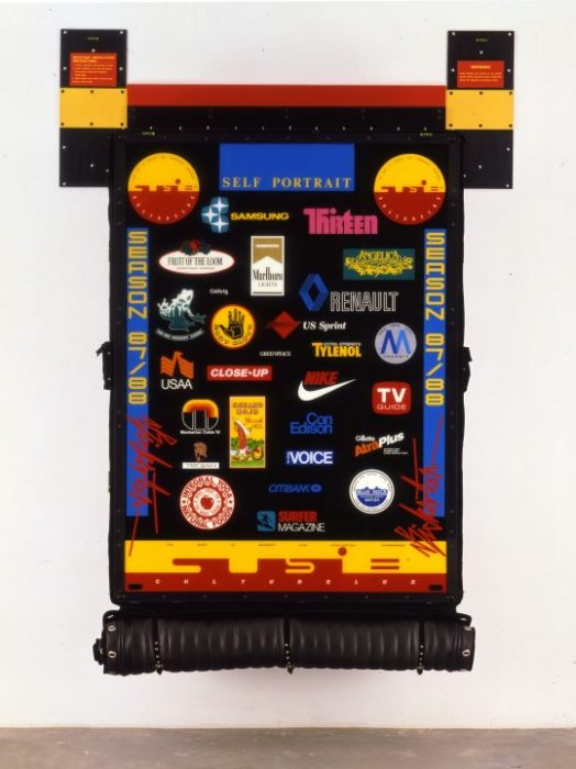 Contemporary art piece featuring commercial logos