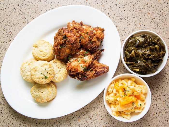 Fried chicken with collards and bisquits