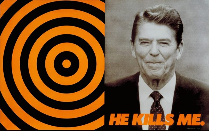 Photo of Ronald Reagan juxtaposed with target