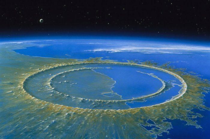 Rendering of meteor impact crater