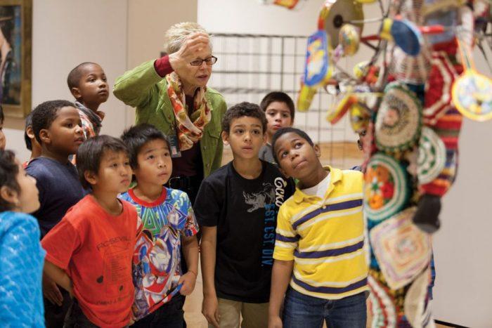 Children look at exhibit