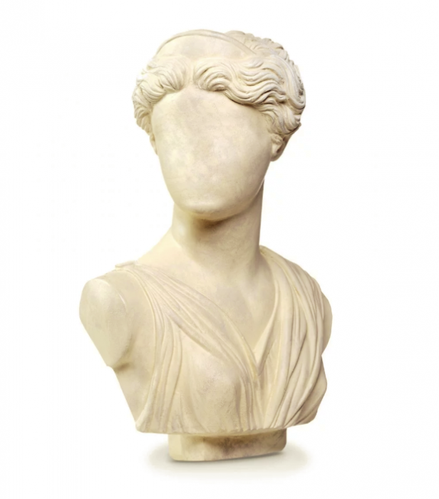Marble bust with blank face