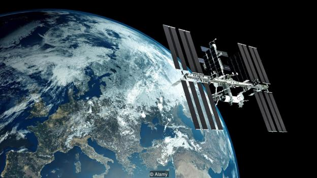 Space Station with Earth in background