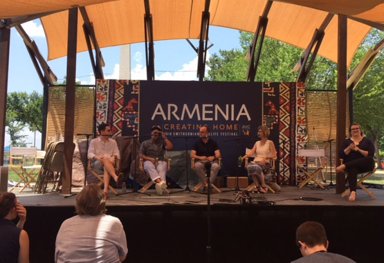 "Panel on ""Armenia"" stage at the 2018 Staff Picnic"
