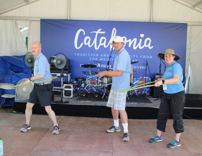 Participants hula hoop on Catalonia stage
