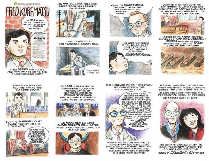 Comic panel about Fred Korematsu