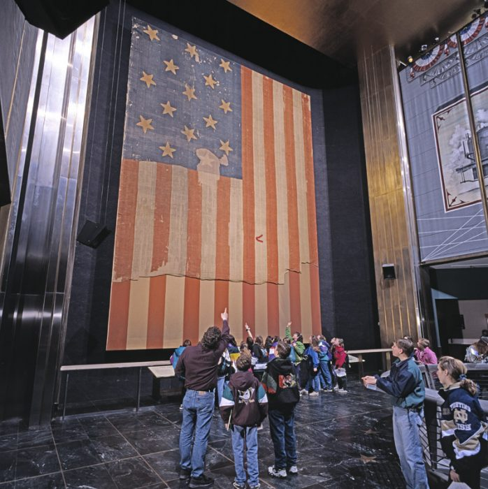 Flag on display at American History