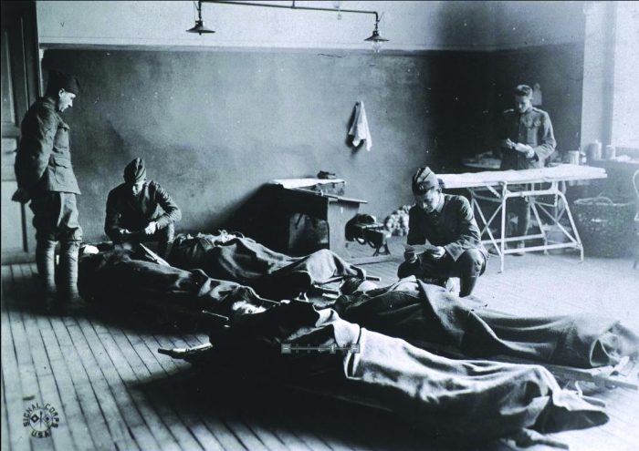 Black and white photo of field hospital