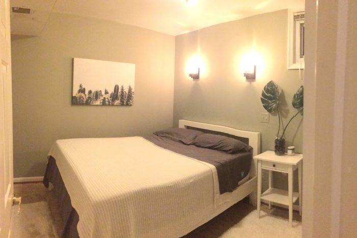 Bedroom in basement apartment