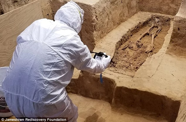 Archaeologist working at grave site